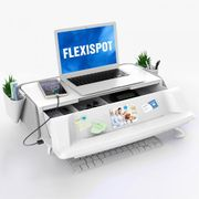 FlexiSpot monitor stand with UV light for sterilizing keyboards and mice, USB Charging. White/Gray