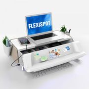 FlexiSpot monitor stand with UV light for sterilizing keyboards and mice, USB Charging. White/Tan