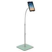 Mount-It! Universal Tablet Floor Stand With Flexible Gooseneck and Tempered Glass Base