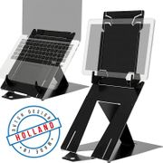 R-Go Tools Riser Duo, Tablet and Laptop Stand, Adjustable, Black