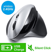 SANWA Vertical Rechargeable Wireless Mouse Silent Noiseless Click