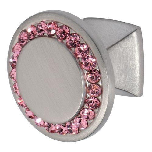 Isabel Knob, Satin Nickel, Pink