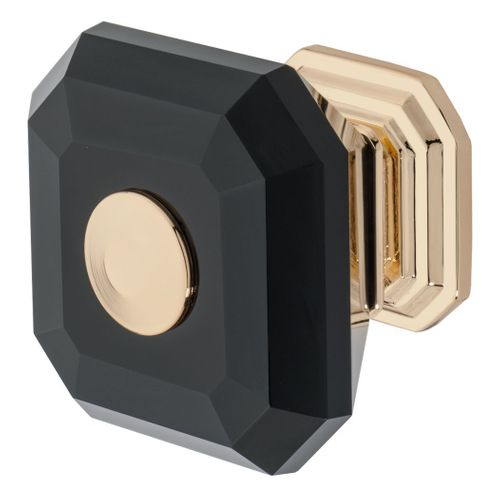 Clubhouse Knob, Polished Gold, Black