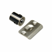 Drive In satin nickel door ball catch with strike plate