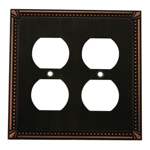 Cosmas 44013 Oil Rubbed Bronze Double Duplex Outlet Wall Plate