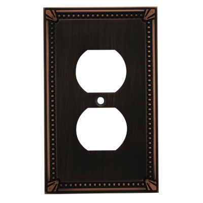 Cosmas 44018 Oil Rubbed Bronze Single Duplex Outlet Wall Plate