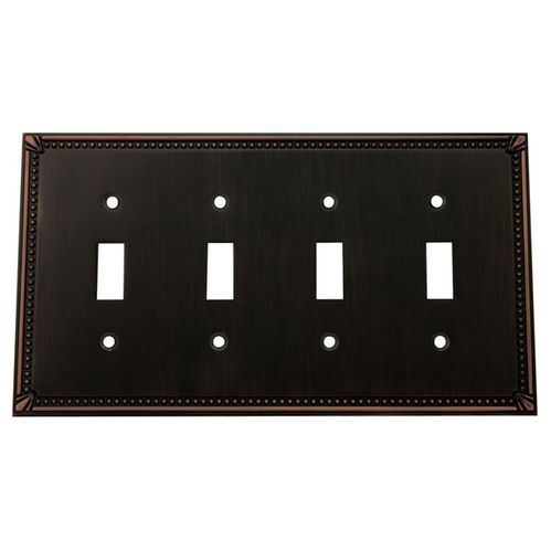 Cosmas 44036 Oil Rubbed Bronze Quad Toggle Switchplate Cover