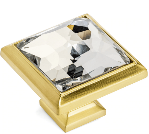 Cosmas 5883BB-C Brushed Brassl & Clear Glass Square Cabinet Knob