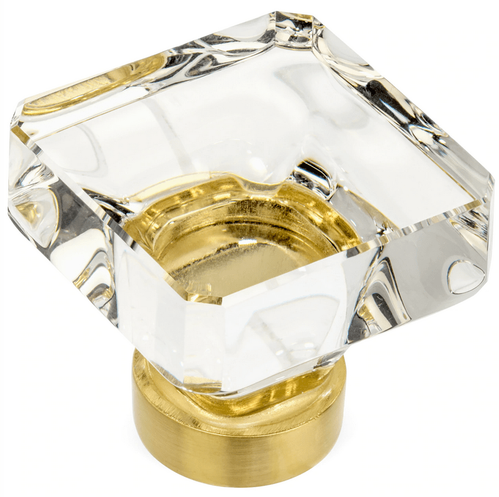 Cosmas 6377BB-C Brushed Brass & Clear Glass Square Cabinet Knob