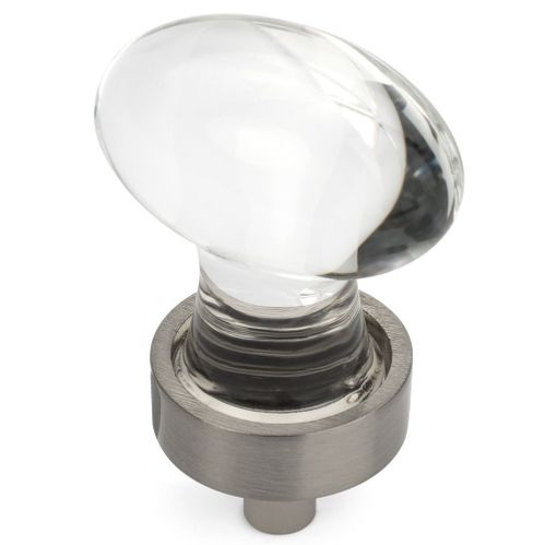 Cosmas 6594SN-C Satin Nickel & Clear Glass Oval Cabinet Knob