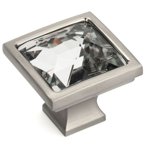 Cosmas 6825SN-C Satin Nickel & Clear Glass Square Cabinet Knob
