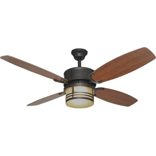 "English Bronze 52"" Ceiling Fan w/ Light Kit & Remote Control : 7409"