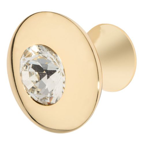 Felicia Knob, Polished Gold, Clear