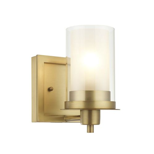 Juno Brushed Brass 1 Light Wall Sconce / Bathroom Fixture