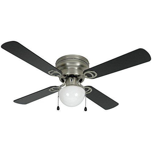 "Satin Nickel 42"" Hugger Ceiling Fan w/ Light Kit : 23-8199"