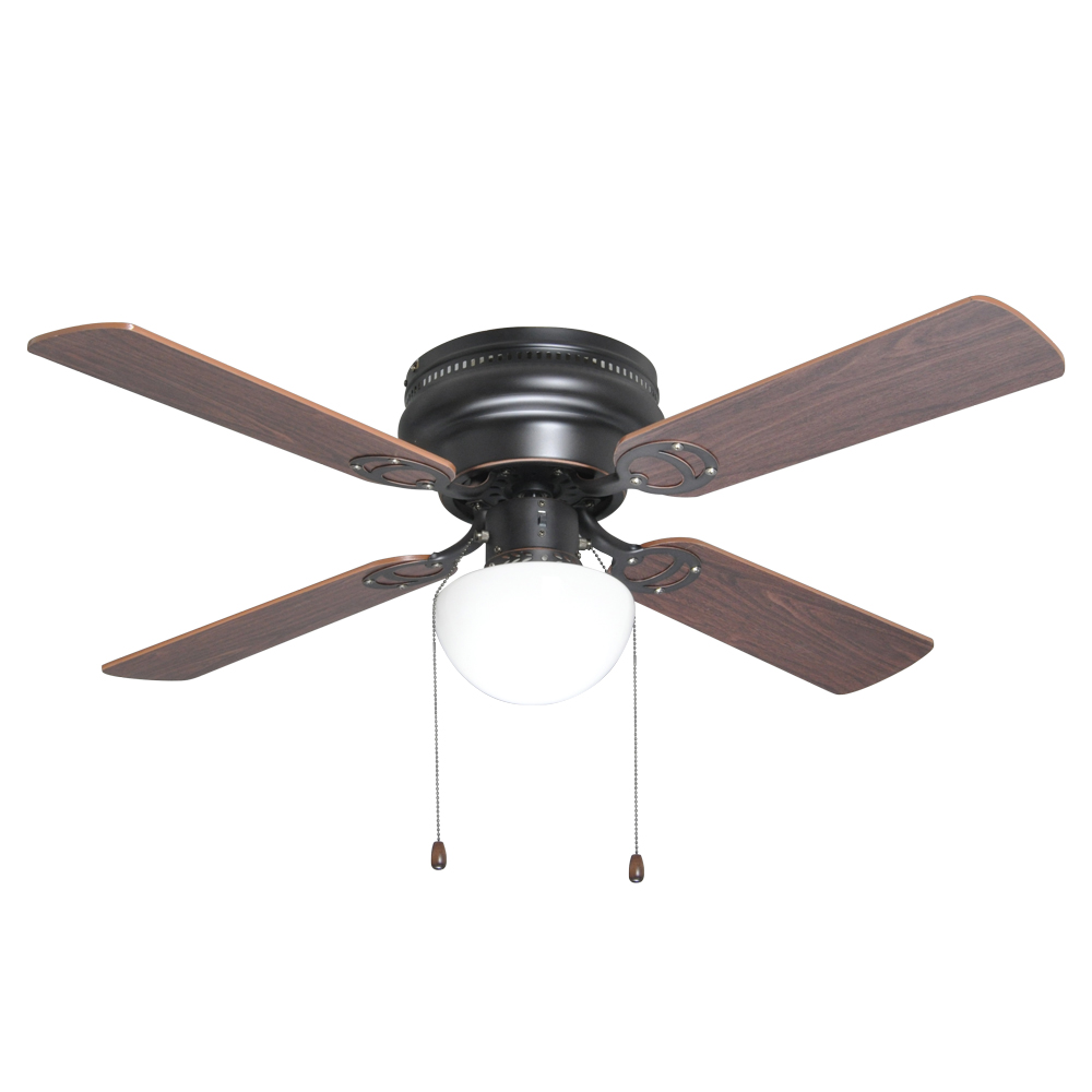 "Oil Rubbed Bronze 42"" Hugger Ceiling Fan W/ Light Kit"