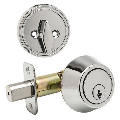 Designers Impressions Polished Chrome Single Cylinder Deadbolt