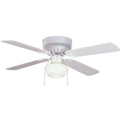 "White 42"" Hugger Ceiling Fan w/ Light Kit : 5745"