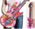 40 inch Inflatable Air Guitar Pink Flower Power 60's Clearance SALE