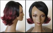 Black and Burgundy Flip Synthetic Wig