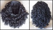 Black Curly Synthetic 3/4 cap