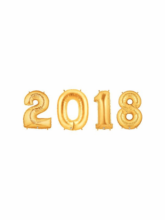 2018 Gold Number Balloons