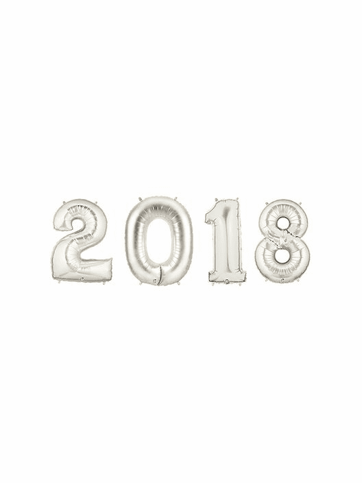 2018 Silver Number Balloons