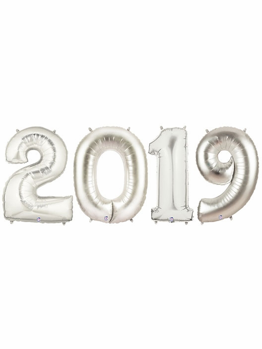 2019 Silver Number Balloons