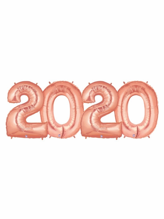 2020 Rose Gold Number Balloons