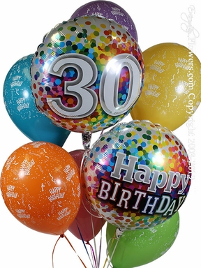 86+ 30 Birthday Balloons Delivered - 30 Polka Dots Stripes 91c4e4fd2