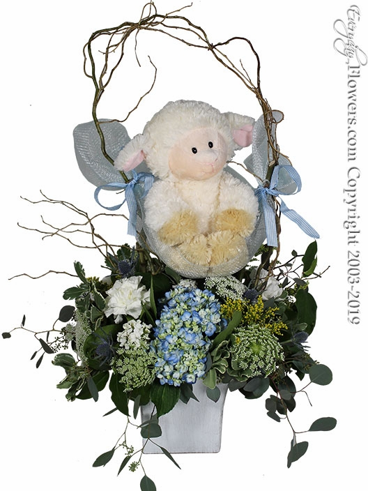 "Baby Boy Flowers With Stuffed Animal <p style=""color:red;font-size:16px;"">Lamb is our of stock please indicate which stuffed animal you would like in the special instructions during checkout. Stuffed Animal Choices Are Below.</p>"