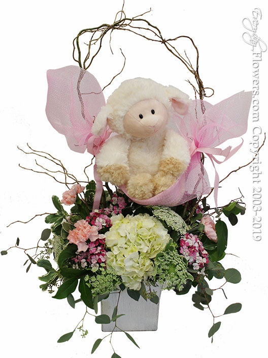 "Baby Girl Flowers And Stuffed Animal<p style=""color:red;font-size:16px;"">Lamb is our of stock please indicate which stuffed animal you would like in the special instructions during checkout. Stuffed Animal Choices Are Below.</p>"