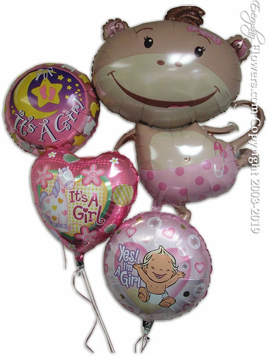 Baby Girl Monkey Balloons