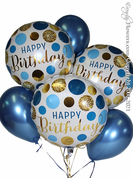 Birthday Blue And Gold Dots Balloon Bouquet