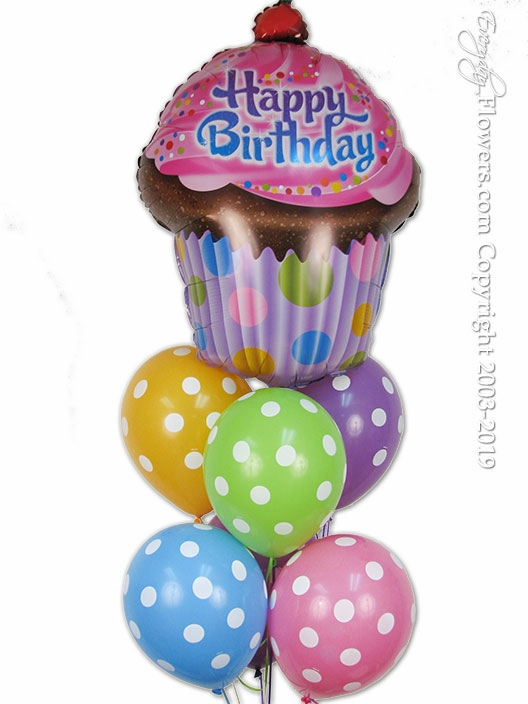 Birthday Polka Dot Cup Cake Balloon Zoom