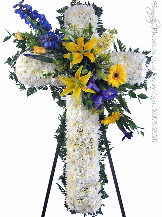 "Blue And Yellow Sympathy Cross <p style=""color:red;"">Please Contact Us For Availability</p>"