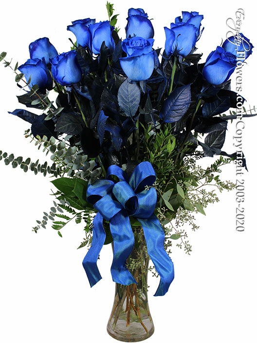 "Blue Stem Dyed Dozen Long Stem Blue Roses<h3>This Product Is Only Available In Orange County, CA</h3><p style=""color:red;"">Sold Out</p>"