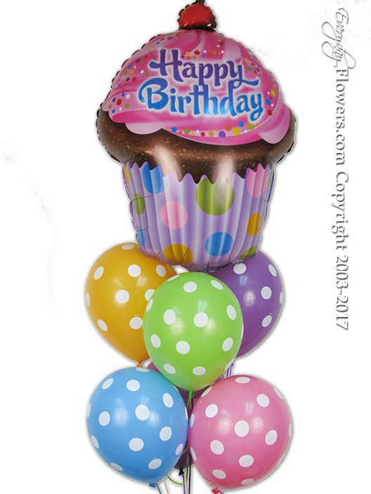 CBB248 Birthday Polka Dot Cup Cake Balloon