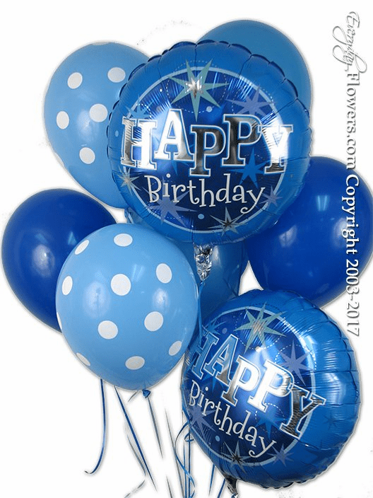blue birthday balloon bouquet for delivery by everyday flowers