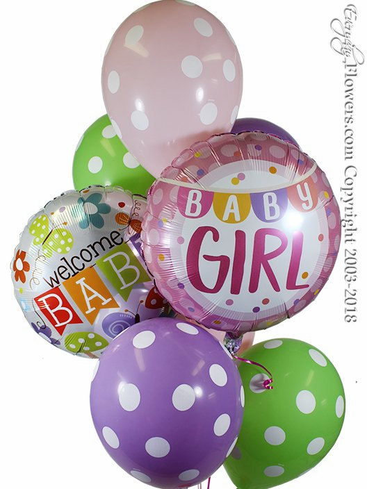 Welcome Baby Girl Balloons
