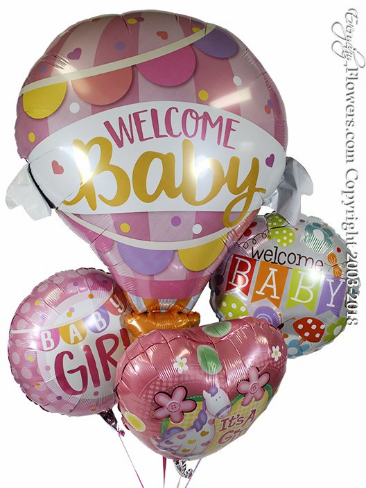 Welcome Baby Girl Foil Balloons