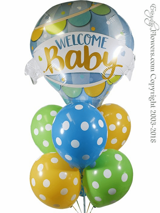 CBB347 Welcome Baby Boy Hot Air Balloons