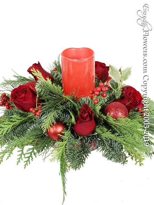 Christmas Centerpiece with Roses