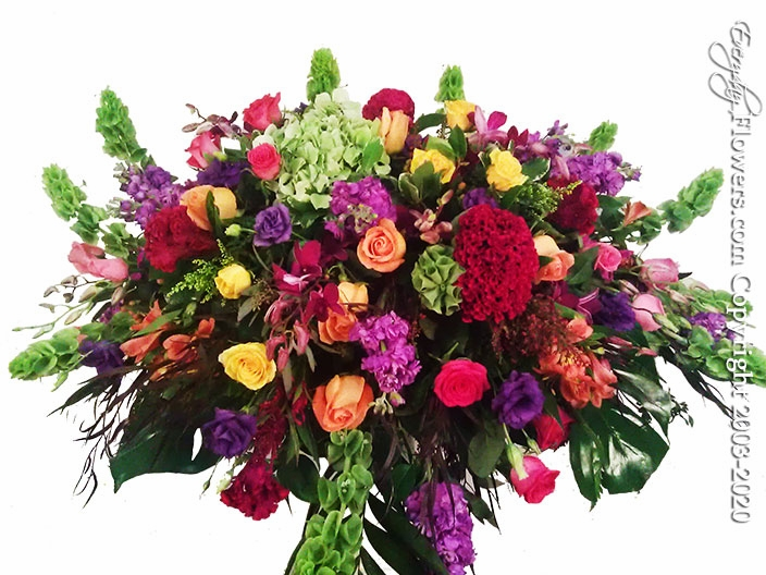 """Colorful Casket Flowers <p style=""""color:red;"""">Please Contact Us For Availability</p>"""