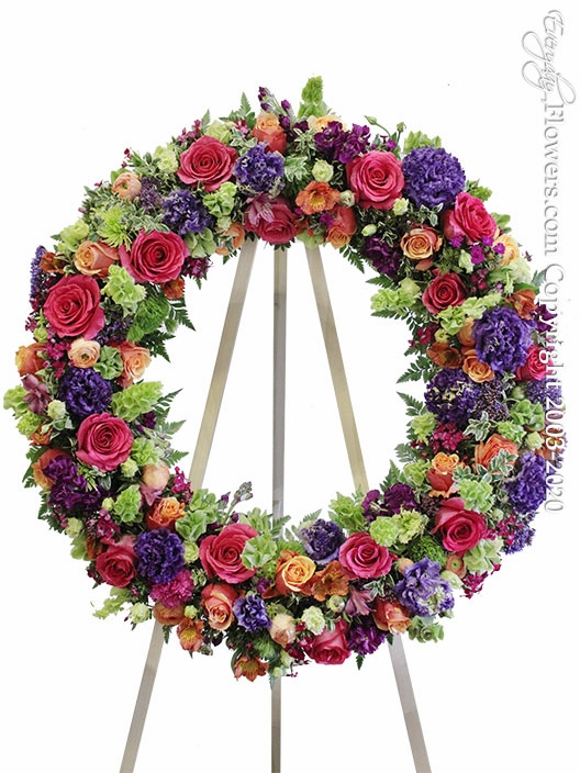 """Colorful Funeral Wreath <p style=""""color:red;"""">Please Contact Us For Availability</p>"""
