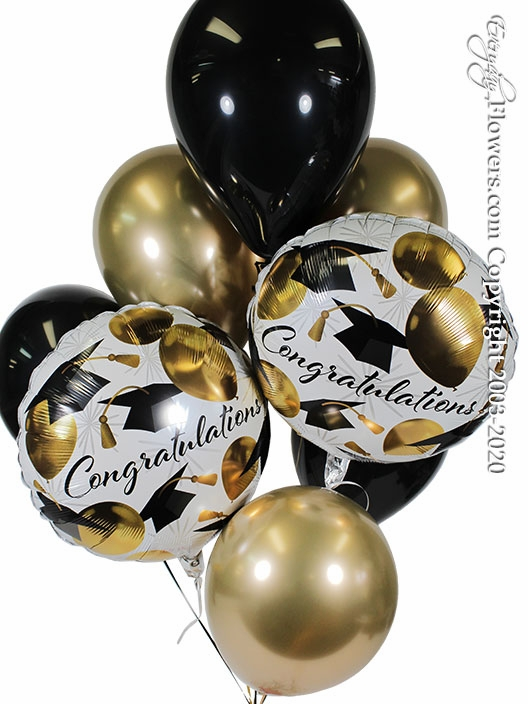 Congratulations Graduation Caps And Gold Balloon Bouquet