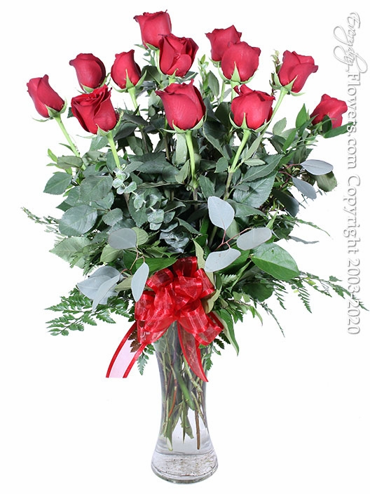 "Dozen Long Stem Roses<p style=""color:red;"">Available 02/08/2021</p>"
