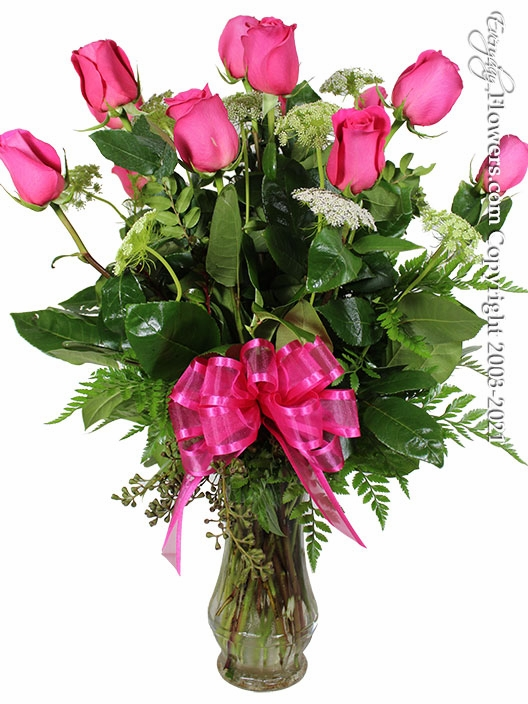 """Dozen Pink Roses<p style=""""color:red;"""">Add White Or Pink Lilies</p>"""