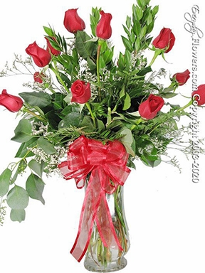 """Dozen Red Roses<p style=""""color:red;"""">Add White Or Pink Lilies</p>"""
