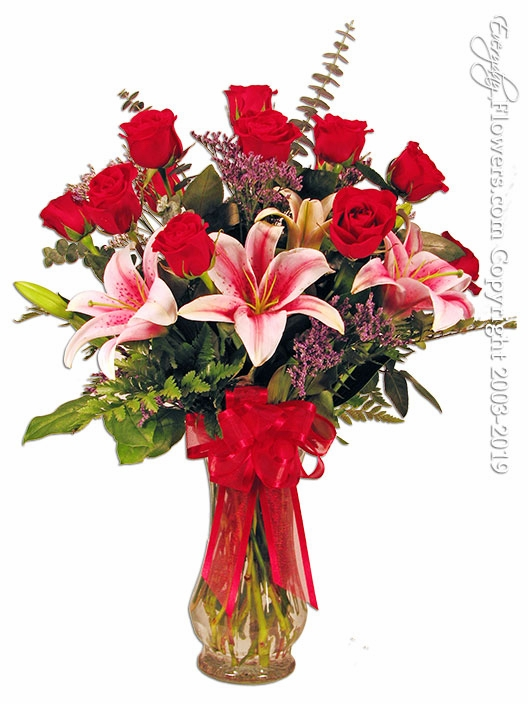 Dozen Roses With Lilies